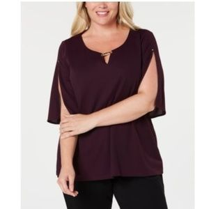 Calvin Klein Slit Sleeve Blouse with HW in Violet